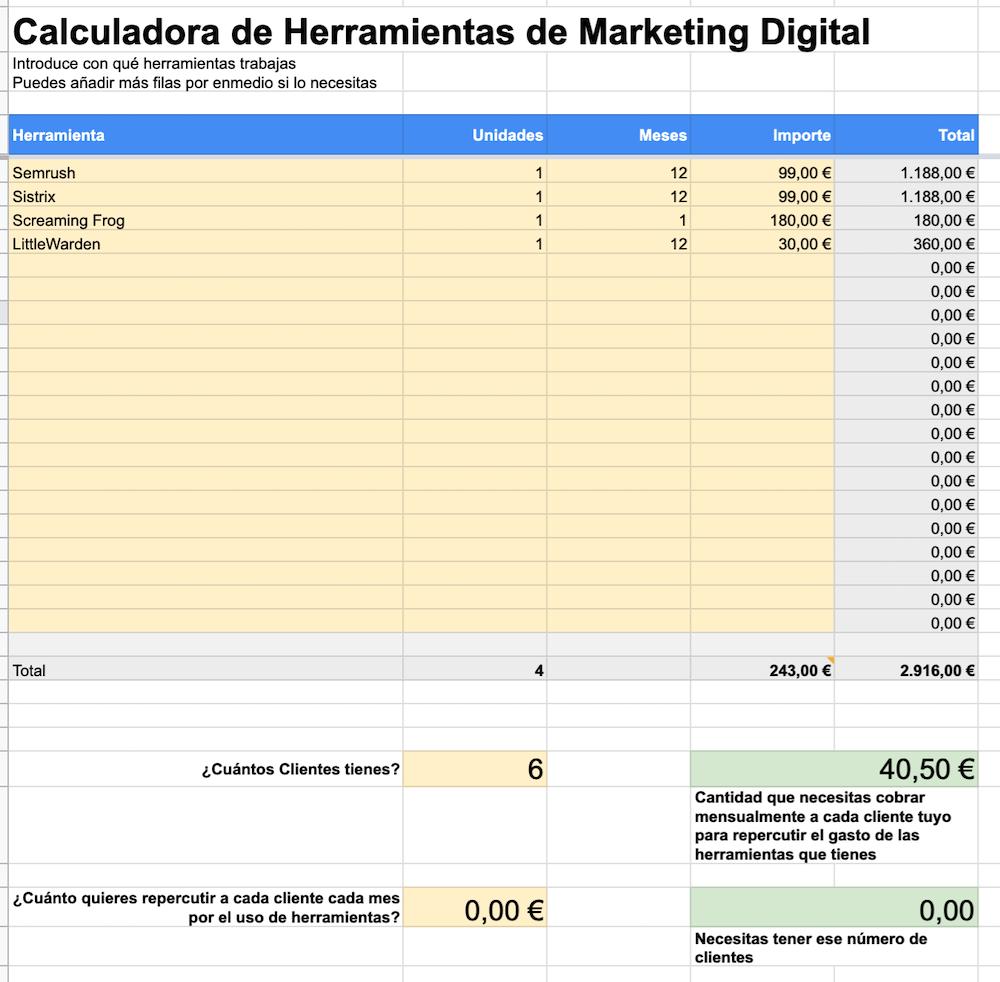 Calculadora Inversión de Herramientas de Marketing Digital